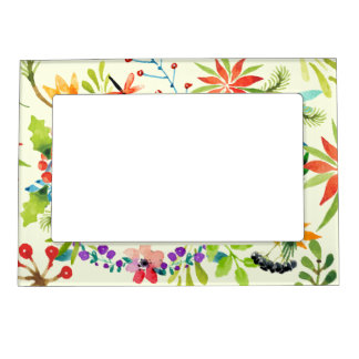 Rustic Autumn fall flowers and leaves Magnetic Picture Frame