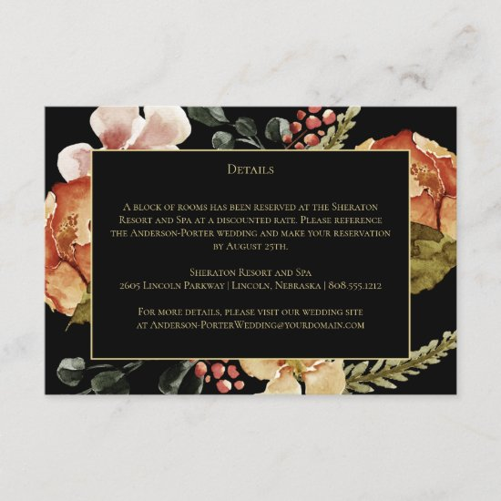 Rustic Autumn Fall Flowers on Black Detail Enclosure Card
