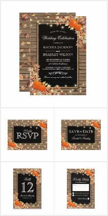 Rustic Autumn Fall Invitation Suite