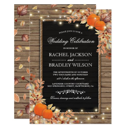 Rustic Autumn Fall Invites Wood Barn Wedding