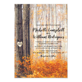Rustic Autumn Fall Leaves Wedding Invitation