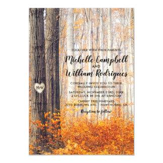 Rustic Autumn Fall Leaves Wedding Invitation