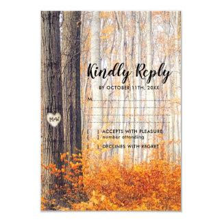 Rustic Autumn Fall Leaves Wedding RSVP Card