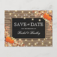 Rustic Autumn Fall Pumpkin Save the Date Announcement Postcard