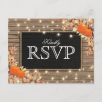 Rustic Autumn Fall Response | Pumpkin Wedding RSVP Invitation Postcard