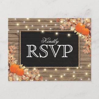 Rustic Autumn Fall Response | Pumpkin Wedding RSVP Invitation Postcard