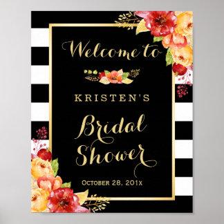 Rustic Autumn Floral Leaves Bridal Shower Sign Poster