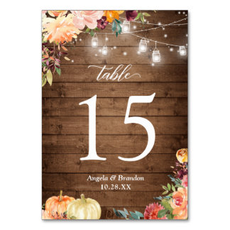 Rustic Autumn Floral Mason Jar Lights Wedding Table Number