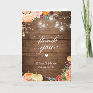 Rustic Autumn Floral Mason Jar Lights Wedding Thank You Card