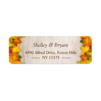 Rustic Autumn Gold Orange Maple Leaves Label
