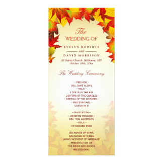 Rustic Autumn Gold Red Fall Leaves Wedding Program
