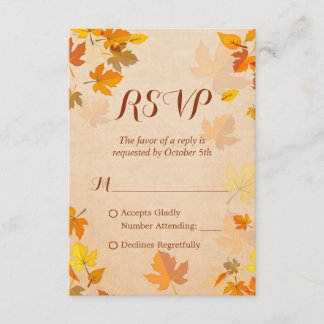 Rustic Autumn Golden Maple Leaves Fall RSVP