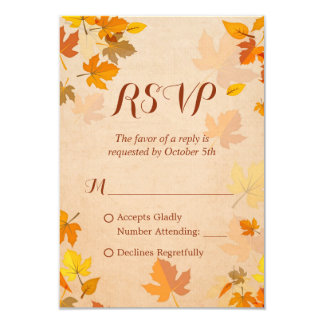 Rustic Autumn Golden Maple Leaves Fall RSVP Card
