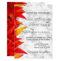 Rustic Autumn Leave Marble wedding Invitation