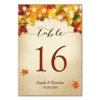 Rustic Autumn Leaves Burlap Wedding Table Number