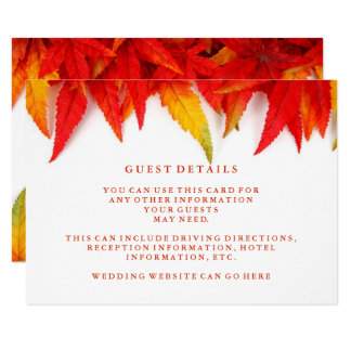 Rustic Autumn Leaves Fall Wedding Guest Details Card