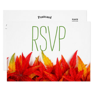 Rustic Autumn Leaves Fall Wedding- RSVP Card