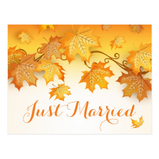 Rustic Autumn Leaves Just Married Orange Wedding Postcard