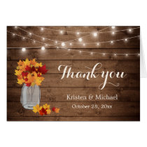Rustic Autumn Leaves Mason Jar Lights Thank You Card