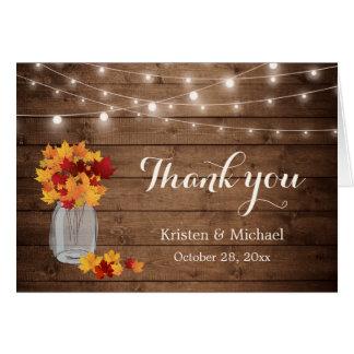 Rustic Autumn Leaves Mason Jar Lights Thank You Card
