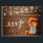 "Rustic Autumn Leaves Mason Jar String Lights RSVP Postcard<br><div class=""desc"">Rustic Autumn Leaves Mason Jar String Lights RSVP Reply Card. 