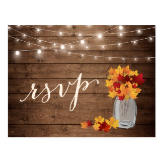 Rustic Autumn Leaves Mason Jar String Lights RSVP Postcard