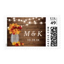 Rustic Autumn Leaves Mason Jar Wedding Monogram Postage