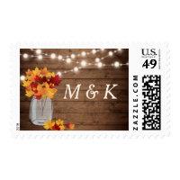 Rustic Autumn Leaves String Light Wedding Monogram Postage