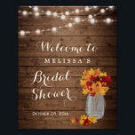 "Rustic Autumn Leaves String Lights Bridal Shower Poster<br><div class=""desc"">Rustic Autumn Leaves String Lights Bridal Shower Sign Poster. (1) The default size is 8 x 10 inches, you can change it to a larger size. (2) For further customization, please click the &quot;customize further&quot; link and use our design tool to modify this template. (3) If you need help or...</div>"