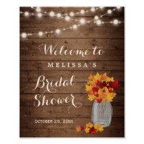 Rustic Autumn Leaves String Lights Bridal Shower Poster