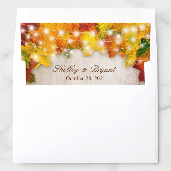 Rustic Autumn Leaves String Lights Fall Wedding Envelope Liner