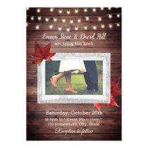 Rustic Autumn Leaves String Lights Photo Wedding Invitation