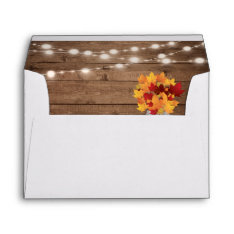 Rustic Autumn Leaves String Lights Return Address Envelope at Zazzle