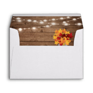 Rustic Autumn Leaves String Lights Return Address Envelope