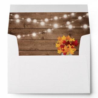 Rustic Autumn Leaves String Lights Return Address Envelope