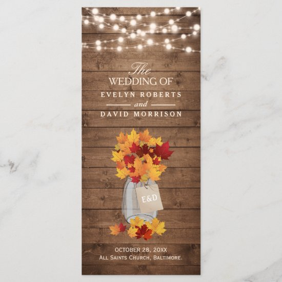 Rustic Autumn Leaves String Lights Wedding Program