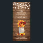 """Rustic Autumn Leaves String Lights Wedding Program<br><div class=""""desc"""">Rustic Autumn Leaves String Lights Wedding Program Card  (1) For further customization,  please click the &quot;customize further&quot; link and use our design tool to modify this template.  (2) If you need help or matching items,  please contact me.</div>"""