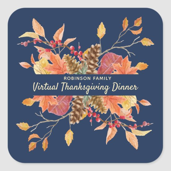 Rustic Autumn Leaves Virtual Family Thanksgiving Square Sticker