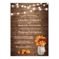 Rustic Autumn Maple Leaves String Lights Wedding Invitation