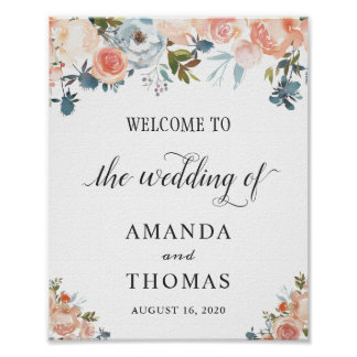 Rustic Autumn Peach Floral Wedding Welcome Sign