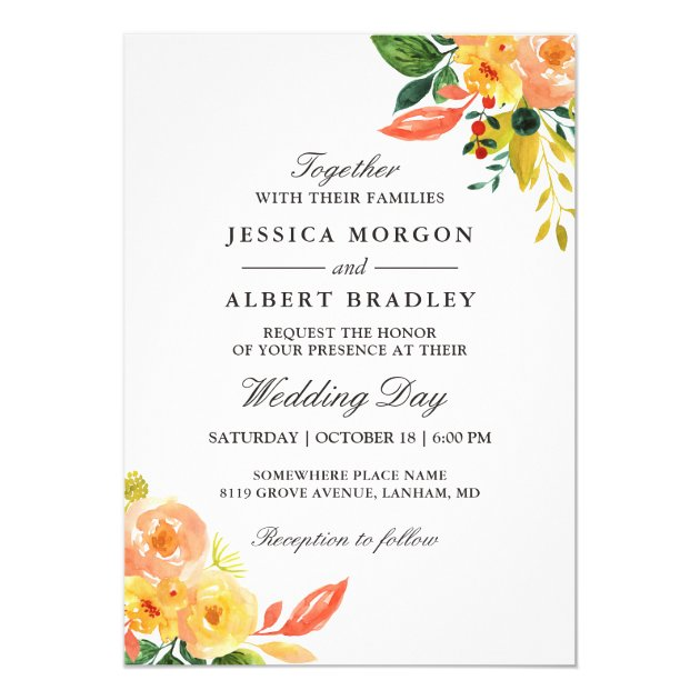 Rustic Autumn Peach Watercolor Floral Fall Wedding Card (back side)