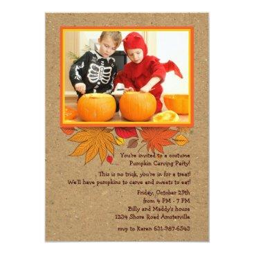 Halloween Themed Rustic Autumn Photo Halloween Invitation