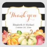 Rustic Autumn Pumpkins Fall Leaves Thank You Square Sticker