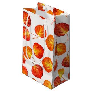 Rustic Autumn Quaking Aspen Leaf Prints Small Gift Bag