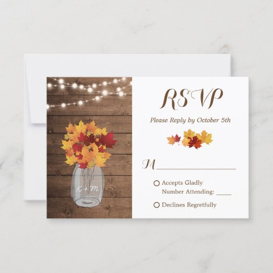 Rustic Autumn String Lights Mason Jar Wedding RSVP