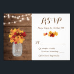 """Rustic Autumn String Lights Mason Jar Wedding RSVP Card<br><div class=""""desc"""">================= ABOUT THIS DESIGN ================= Rustic Autumn String Lights Mason Jar Wedding RSVP Reply Card. (1) For further customization, please click the &quot;Customize it&quot; button and use our design tool to modify this template. All text style, colors, sizes can be modified to fit your needs. (2) If you prefer thicker...</div>"""