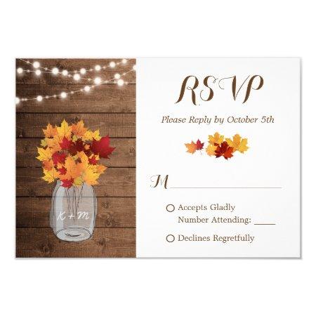 Rustic Autumn String Lights Mason Jar Wedding Rsvp Card