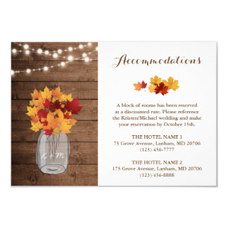 Rustic Autumn String Lights Wedding Accommodations Card