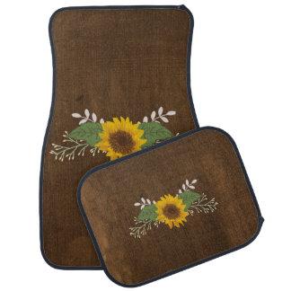 Rustic Autumn Sunflower Car Mat