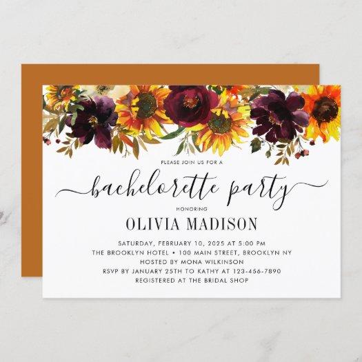 Rustic Autumn Sunflower Floral Bachelorette Party Invitation
